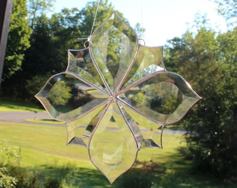 """Bevel Cluster Stained Glass Sun-catcher, 9 1/2"""" X 9 1/2"""", Hand Crafted, Made in the USA"""