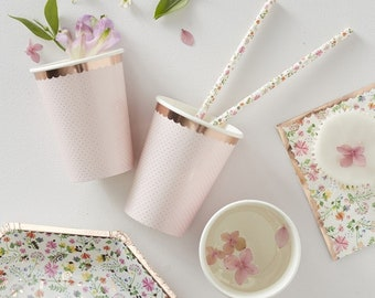 Rose Gold & Pink Cups, Pink Party Cups, Baby Shower Cups, Birthday Cups, Pink Party Cups, Rose Gold Cups, Afternoon Tea Cups, Pink Party