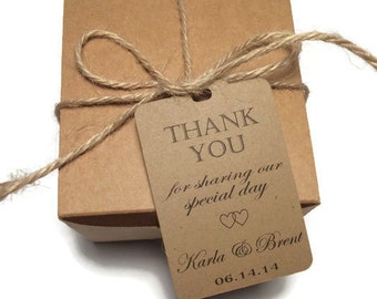 Wedding Thank You Tags - Personalized Wedding Favor Tags- thank you for sharing our special day