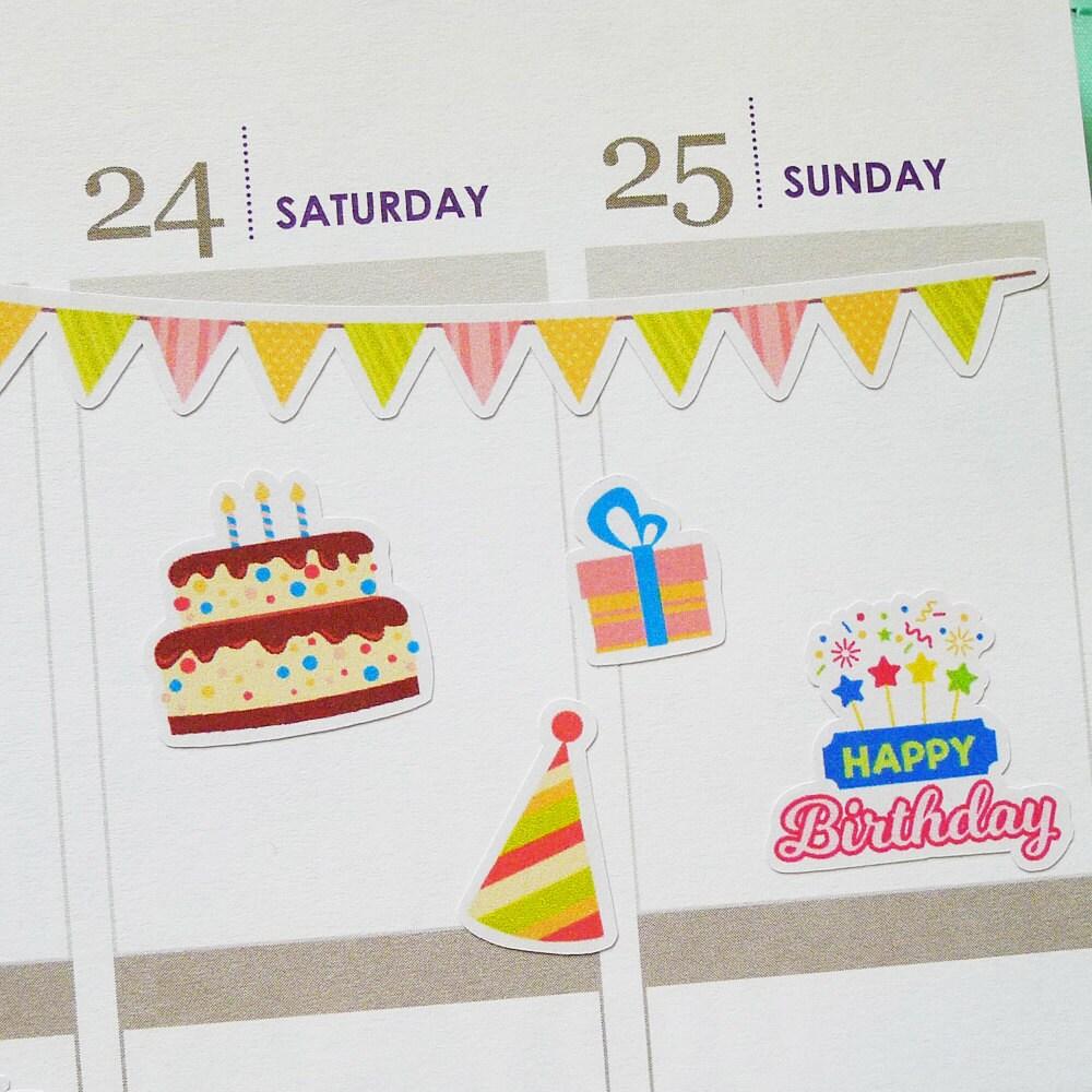 Happy Birthday Planner Stickers | Birthday Stickers | Birthday Party ...