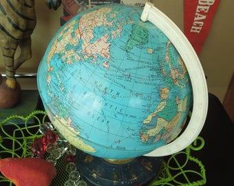 Metal World Globe - Lithography Zodiac - Ohio Art - Vintage Mid Century Decor Study Den Library Child's Room Decor