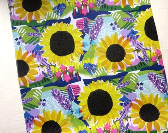 Sunflowers and Lavender Fabric | fabric by the metre | upholstery and curtain fabric | Designer fabric | Floral | Home décor | Interiors