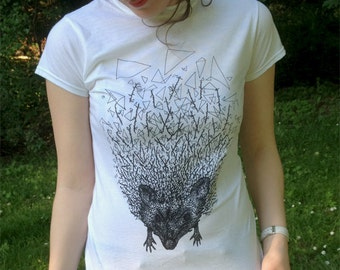 Hedgehog illustration T-shirt // Animal Screen Print T-shirt // SALE // available in Women size S/M/L // Now 20% off