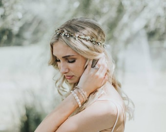 Flower Crown | Bridal Headpiece | Natural Wedding Hair Wreath| Rustic Bridal Shower Hair| Greek Bridal Crown| Bridal Halo Headpiece| Circlet