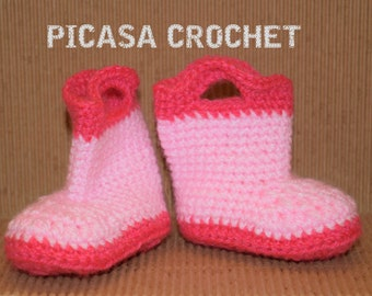 Crochet baby girl wellies 100 % handmade