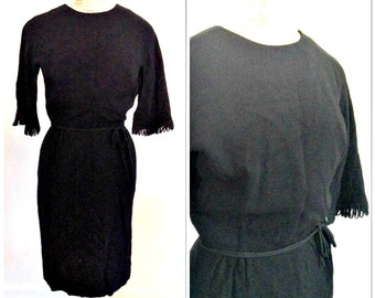 Sixties vintage fringed black cocktail dress // extra small xs 0 2 lbd sheath sexy wiggle dress designer neiman marcus