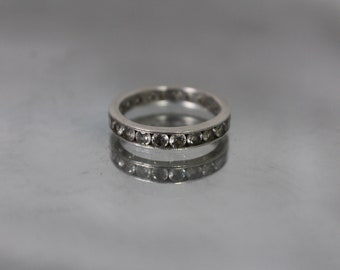 925 - Vintage Cubic Zirconia Channel Set Wrap Around Engagement Ring Band in Sterling Silver