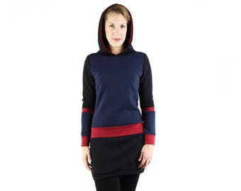 hooded dress black dark blue red hoodiedress sweat