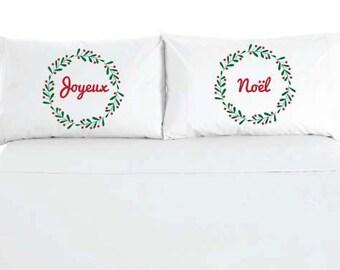 Joyeux Noel - Feliz Navidad - Merry Christmas Wreath Pillowcases - Custom Printed - Sold as a set of 2