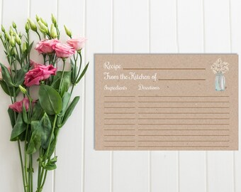 Gypsophila Mason Jar Recipe Card, Printable Baby's Breath Kraft Recipe Card, Rustic Bridal Shower Recipe Card, DIY Kraft, Download, 101-A