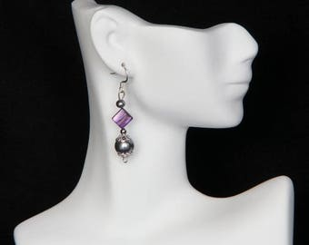 Purple and Grey Mother of Pearl Earrings