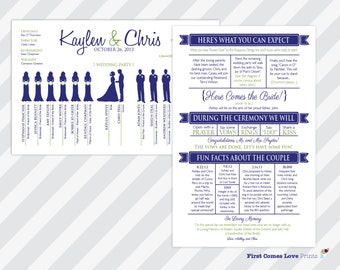 """PRINTABLE Wedding Program * """"The Kaylen:  With Fun Facts"""" • Two Sided • Silhouettes • Fun Wording • Choose ANY Colors • 5.5 x 8.5 size • PDF"""