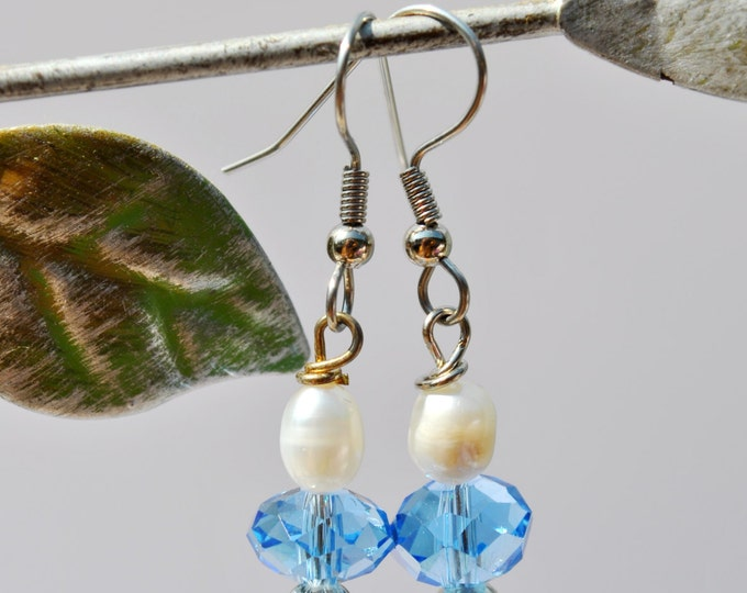 Freshwater white Pearl and Blue crystal Earrings
