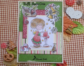 Merry Christmas little girl and candle red green card