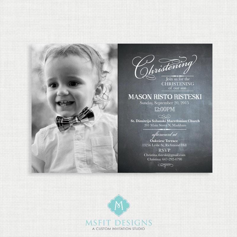 Chalkboard Baptism Invitation- Boy Baptism Invitation - Baby ...