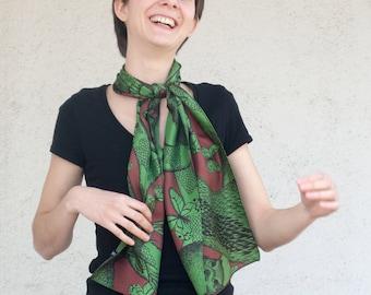 Twill of silk's scarf, mixed drawn animals (deer, rabbit, marmot, mouflon, butterflies), Forest Green and Brown
