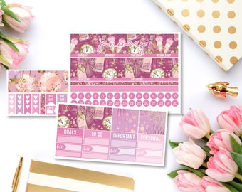 January Monthly Kit   Monthly View Spread Calendar Planner Sticker Kit for Life Planner   EC Any Planner Vertical NYE New Years Glam Jan
