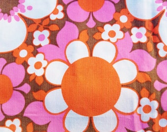 Timeless Treasures House Designer - Happy Together Corduroy - Mod Blooms in Pink and Orange with a Cocoa Background, 3 yards