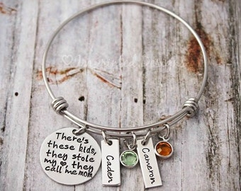 Charm Bracelet - Mother Bracelet - There's These Kids Who Stole My Heart They Call Me Mom - Mom Birthstone Bracelet - Kids Names