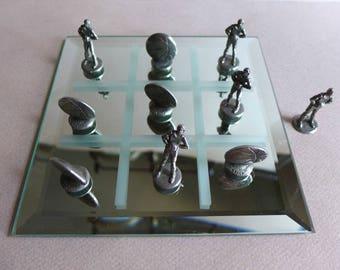 Vintage Gallo Basketball Tic Tac Toe Tabletop Board Game Mirror Base
