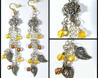 Autumn Tree And Falling Leaves Inspired Dangle Drop Earrings 1 Pair