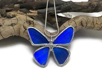 Real Butterfly Necklace, butterfly, insect jewelry, handmade, Blue Morpho Pendant,handmade butterfly pendant, butterly wing, morpho Rhetenor