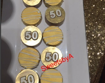 50th themed chocolate covered oreos
