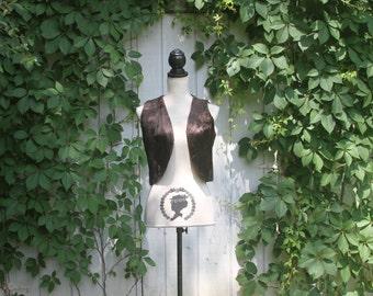 vintage boho brown fur vest // faux fur // 70s, 60s