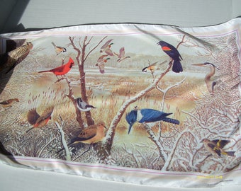 Vintage Songbird Scarf, 1979 National Wildlife Federation, 12 by 42 inches,