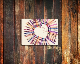 crayon heart love photo magnet / valentines day, kitchen decor, fine art photograph, nursery decor, crayon, color, heart, rainbow