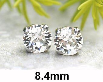 8.4mm, Crystal Studs, Clear Crystal Stud Earrings, Rhinestone Studs, Crystal Studs in settings, clear Xirius Studs