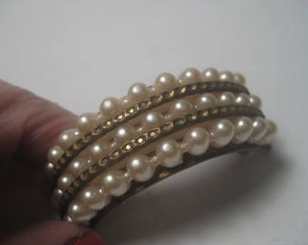 """Vintage Pony Tail Barrette, Faux Pearl, 2"""", Arched. Three Rows, 1940's-1950's"""