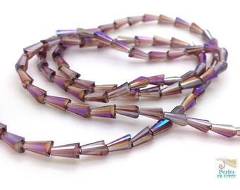 Plum AB: 20 conical beads faceted glass, 3.5x6mm (pv611)