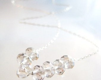 CARRIE B's Bitty Bling Necklace in Sterling with Silver Shade Crystal Rondelles