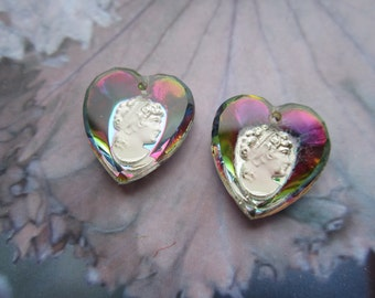 Vintage Vitrail Glass Heart Intaglio Cameo Pendants Cameo Charms 2Pcs.