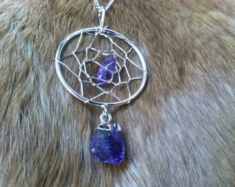 Amethyst dream catcher necklace/pendent  silver