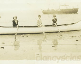 vintage photo 1923 Three Children Canoe Rockaway Beach NY