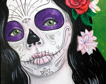 Catrina with Purple Eyes - Day of the Dead original painting 8x10 inches - Dia de los Muertos Day of the Dead Sugar Skull Catrina