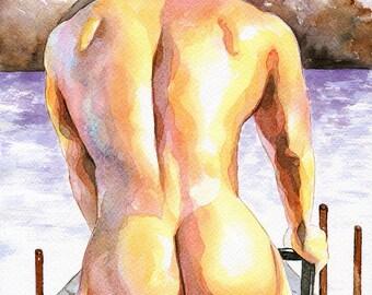 "Print of Original Artwork Watercolor Painting Erotic Male Man Nude Gay ""Cyclist"""