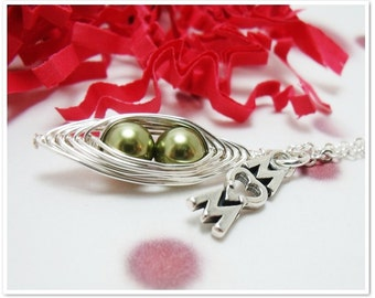 Mom Necklace - Peas in a Pod Necklace with Mom Charm - Wire Wrapped Necklace - Sterling Silver Charm Necklace