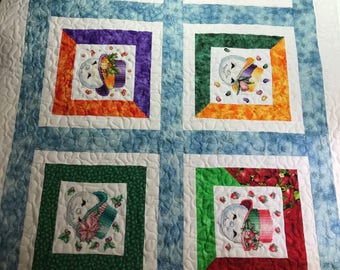 Quilt Throw 46x34 LOVE THE SNOWMAN in all Seasons Cross Stitch & Quilting Combination
