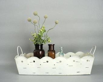 Ivory Metal Decorative Basket With Handles