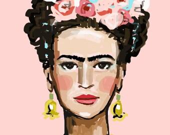 Frida Print, roses, pretty, portrait