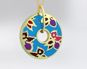Handmade 14K Gold Enameled Pendant