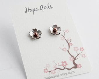 Cherry Blossom Stud Earrings - Copper or Sterling Silver, Made by Hapa Girls, Gifts for her,  Spring Wedding jewelry, Sakura earrings