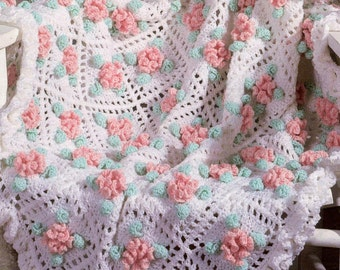 vintage crochet pattern carnation mum flower 3d granny sqaure motif blanket afghan printable pdf download 1980