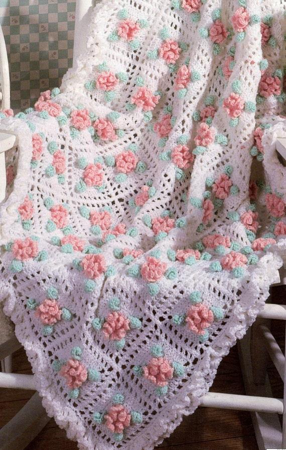 Vintage Crochet Pattern Carnation Mum Flower 3d Granny Sqaure