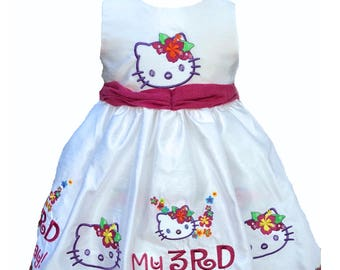 3T  Beautiful kitty theme custom embroidered dress for a third birthday princess