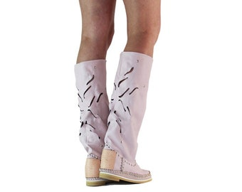 Hand-crafted/women's leather boots/Women's moccasins/festival boots/HIPPI boots/grounding boots/All sizes