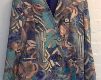 80's/90's jungle print power jacket by Perceptions London - Medium
